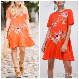 ASOS Embroidered Orange Floral Dress